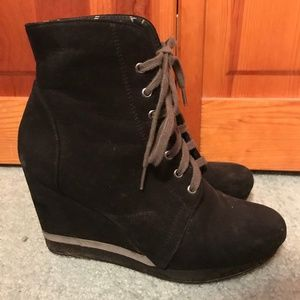 Black Lace Up Forever 21 Wedge Booties